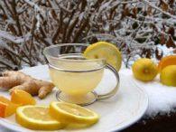 Ginger lemon orange snow hot lemon juice tea