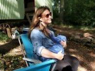Jean shirt breastfeeding happy