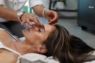 Sinus pressure massage woman office