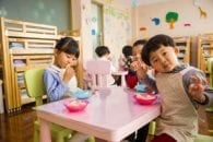 Toddler eating day care classroom