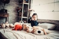 Phonograph stuffed animals girl camera birth attendance