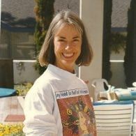 an old image of martha sears outside in her sweatshirt