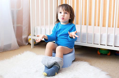 Child learning have healthy poop