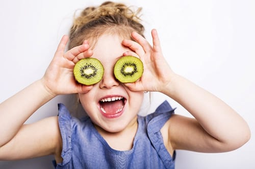 Girl with kiwi glasses